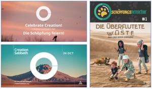 Li.: Zwei Poster zum Schöpfungssabbat | re.: Comic für Kinder zum Schöpfungssabbat